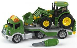 Dieplader + Tractor John Deere met voorlader - constructiespeelgoed - Theo Klein 3908
