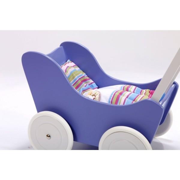 Houten Poppenwagen Purple + gratis dekbedsetje / slaapzakje