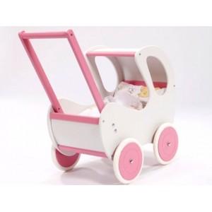 Houten poppenwagen de luxe White + gratis dekbedsetje / slaapzakje