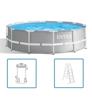 Intex Prism Frame Pool 366 x 99 cm. + filterpomp + ladder